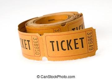 ticket stubs - orange ticket stubs on white background,...