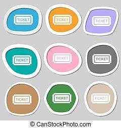 Ticket symbols. Multicolored paper stickers. Vector