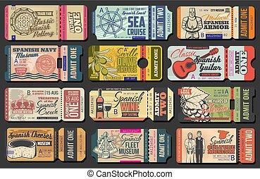 Ticket templates of guitar concert, cruise or fair