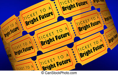 Ticket to a Bright Future Success Ahead Tomorrow Words 3d Render Illustration