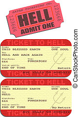 Ticket to hell - Editable vector illustrations of tickets to...