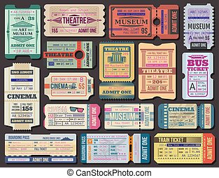 Ticket to movies, theatre or museum, boarding pass