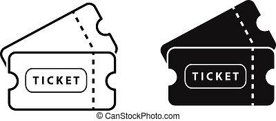 Ticket vector icon on white background for graphic design, logo, web site, social media, mobile app, ui illustration