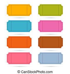 ticket, vector, set, kleurrijke, illustratie