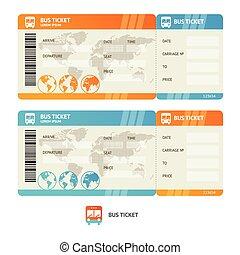 ticket., vetorial, autocarro