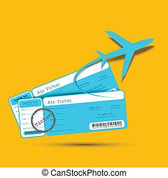 ticket, vlucht, vliegtuig