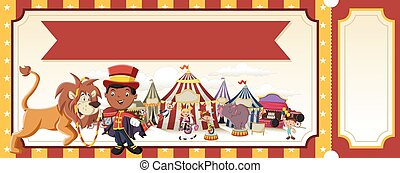 Ticket with cartoon characters in front of retro circus.