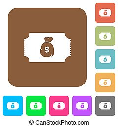 Ticket with dollar bag rounded square flat icons