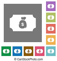 Ticket with dollar bag square flat icons