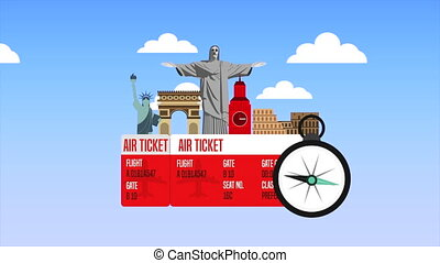 ticket with set of country monuments animation - ticket with...