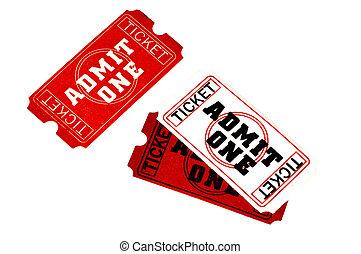 tickets, вырезка, -, один, признавать, дорожка