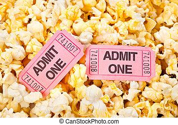 tickets, кино, попкорн