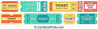 tickets., レトロ, 映画, 1(人・つ), 記入項目, クーポン, 映画館, 入院させなさい, サーカス, クーポン, 切符, セット, ベクトル, 入口
