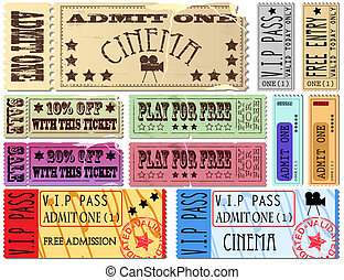 Tickets - Colorful free admission and sale ticket...