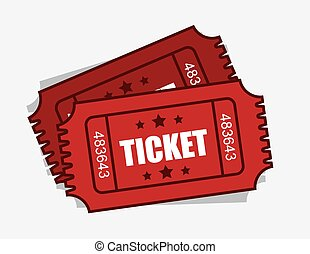 Tickets - Two isolated red admission tickets