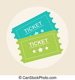 Tickets icon. Retro cinema tickets. Movie ticket in flat style