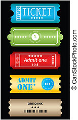 Tickets in different styles - vecto