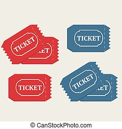 Tickets in red and blue