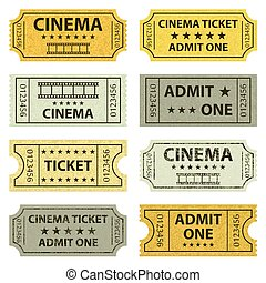 tickets., retro, cinema