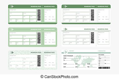 tickets set green - Set of airline boarding pass tickets on...