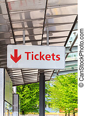 Tickets sign - A sign signalling a ticket point of sale