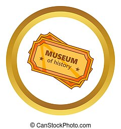 Tickets to the Museum of History icon in golden circle,...