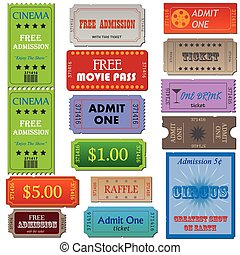 Tickets - Image of various admission and cinema tickets.