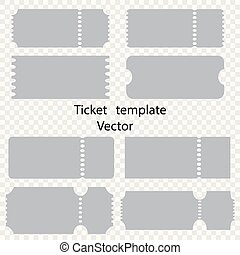 Tickets vector on an isolated background, templates. Tickets to the cinema, theater, circus.