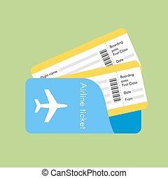 tickets., vettore, linea aerea, illustrazione