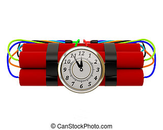 Ticking bomb isolated on a white background.