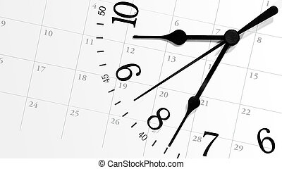 Ticking Time Clock with Calendar - A white clock with...