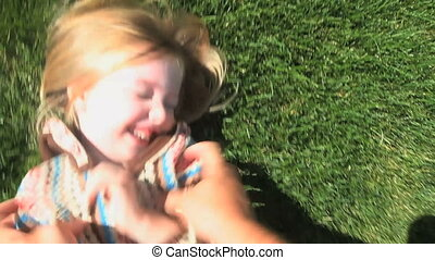 Tickle Monster - Point-of-view shot of a father tickling his...