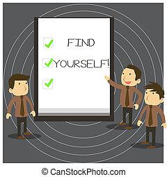 ticks., foto, missões, pessoas negócio, texto, mostrando, whiteboard, colegas, sinal, yourself., selfsufficient, coisas, conceitual, tornar-se, você mesmo, apresentação, achar, discuta