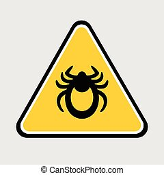 Ticks stop sign. Mite warning sign. Vector illustration of tick warning sign on yellow background. Encephalitis mite skin parasite isolated on white. Flat design