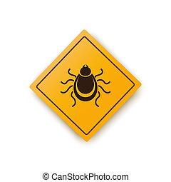 Ticks warning mite bug icon. Encephalitis parasite icon. Vector illustration of tick warning sign