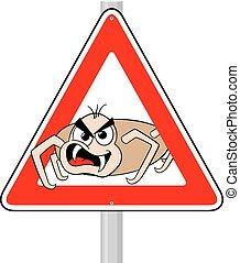ticks warning sign - vector illustration of a ticks cartoon...