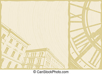 Illustration of a clock and buildings