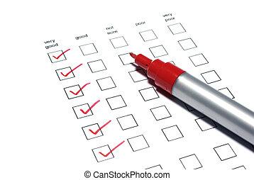 tictaque, liste, arrière-plan., marqueur, blanc, poll, rouges