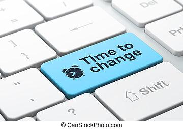 tid, concept:, dator tangentbord, med, väckarklocka, ikon, och, ord, tid, till, ändring, utvalt, fokusera, på, komma in, knapp, 3, render
