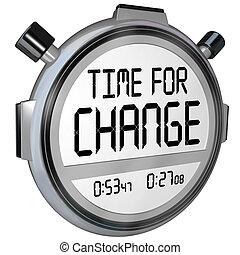 tid, för, ändring, stoppur, tidmätare, klocka