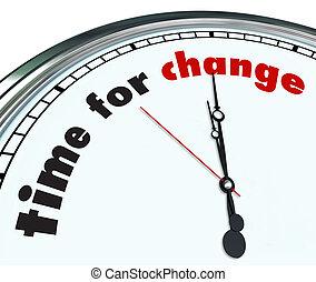 tid, för, ändring, -, utsirad, klocka