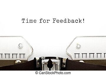 tid, för, feedback, skrivmaskin