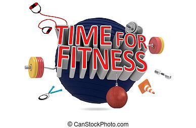 tid, för, fitness.