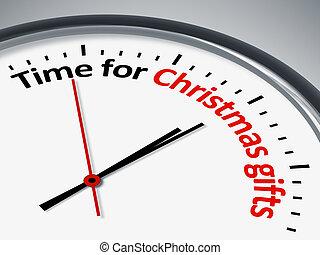 tid, för, jul gåvor