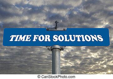 tid, för, lösningar, vägmärke