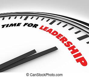 tid, för, ledarskap, -, klocka