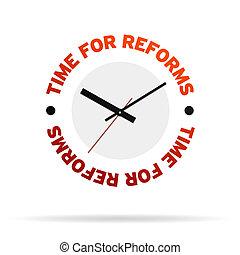 tid, för, reforms, klocka