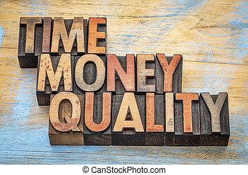 tid, kvalitet, pengar