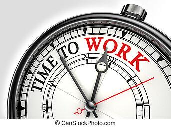 tid, till arbeta, begrepp, klocka