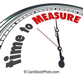 tid, till mät, ord, klocka, mätare, utförande, plan